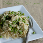 Breaded Italian Chicken with Peas in a White Wine Reduction
