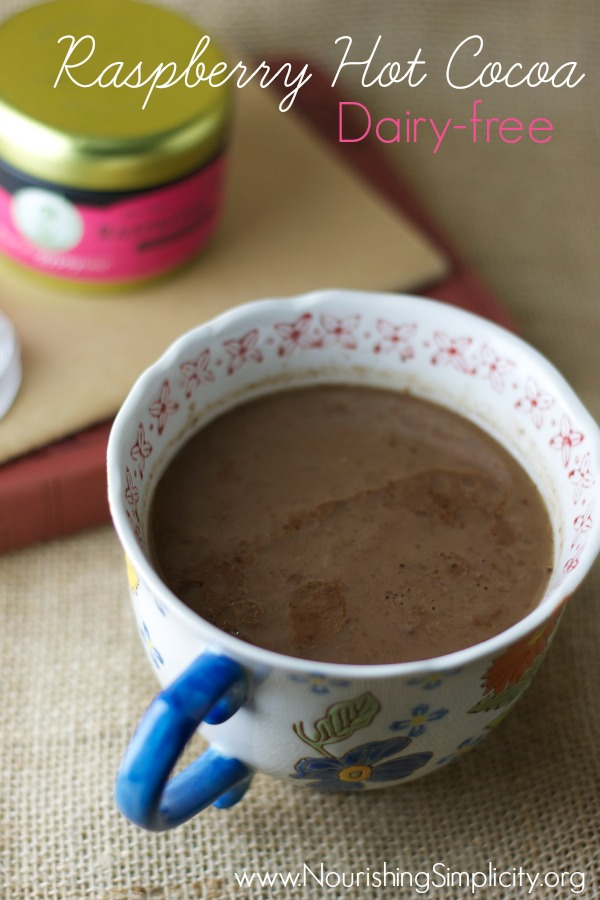 Raspberry Hot Cocoa Dairy-free- www.nourishingsimplicity.org