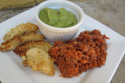 "Spicy ""Fried"" Chicken Strips and Spicy Avocado Dipping Sauce- www.nourishingsimplicity.org"