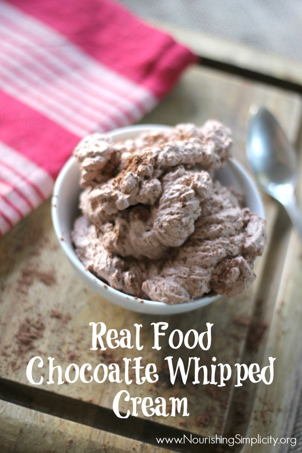 Real Food Chocolate Whipped Cream- www.nourishingsimplicity.org
