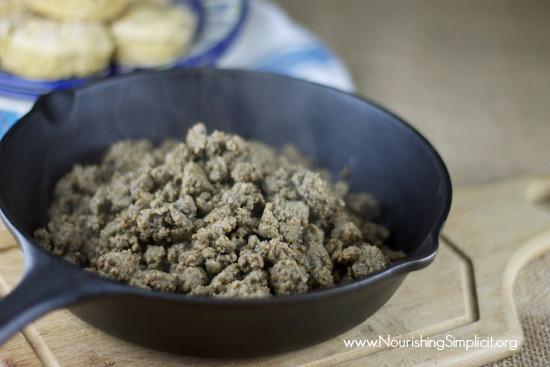 Homemade Breakfast Sausage Crumbles -www.nourishingsimplicity.org