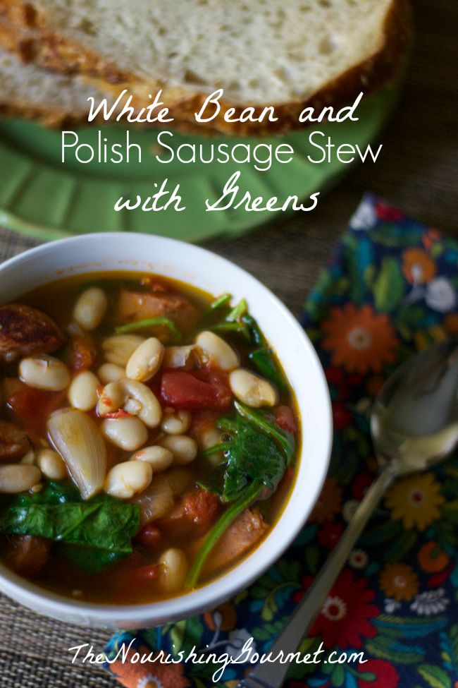 White Bean and Polish Sausage Stew with Greens-www.nourishingsimplicity.org