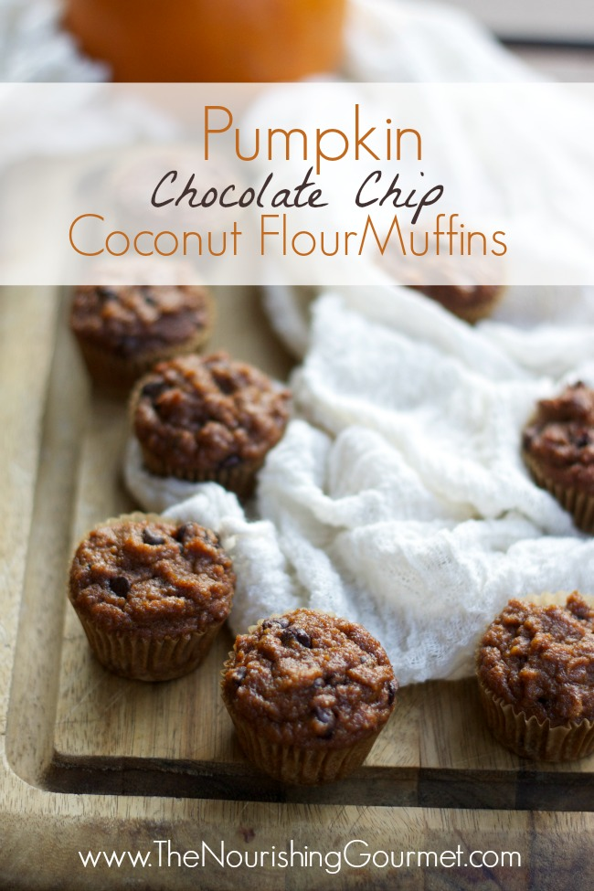 Pumpkin Chocolate Chip Coconut Flour Muffins-www.nourishingsimplicity.org