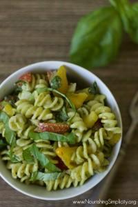 Fresh Pesto Pasta Salad -www.nourishingsimplicity.org