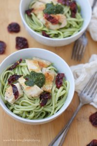 Pesto Pasta with Pan-Seared Chicken-www.nourishingsimplicity.org