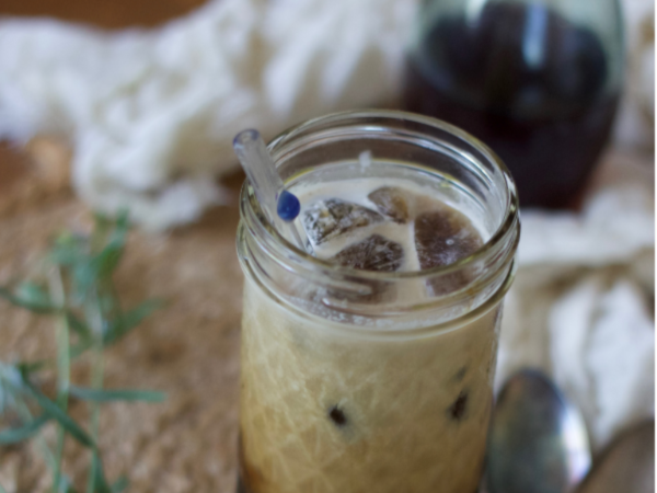 Unwind with a Simple and Delicious Iced Lavender Latte -www.nourishingsimplicity.org